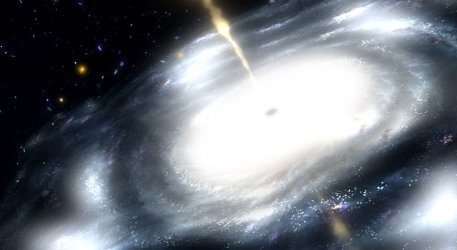 artist's concept shows a galaxy with a supermassive black hole