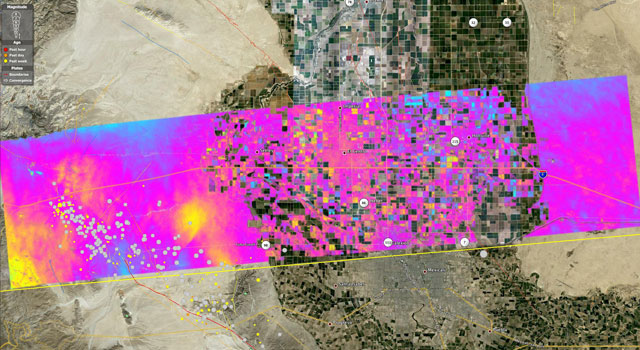 UAVSAR interferogram of Southern California near the Mexican border, created by combining data from flights on April 13, 2010, and July 1, 2010.