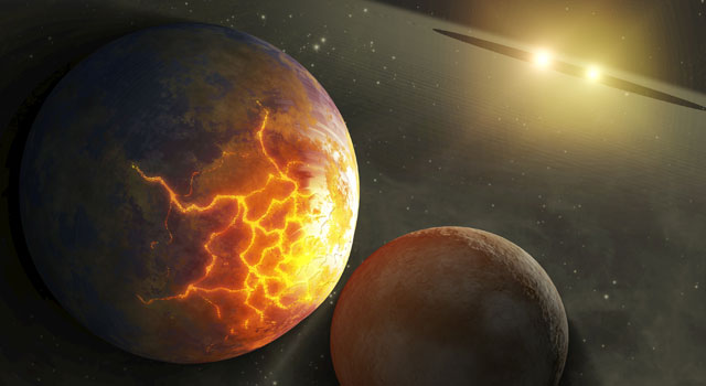 This artist's concept illustrates an imminent planetary collision around a pair of double stars.