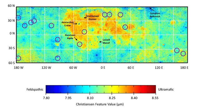 Map showing global compositional variations measured by the Diviner lunar radiometer aboard NASA's Lunar Reconnaissance Orbiter.