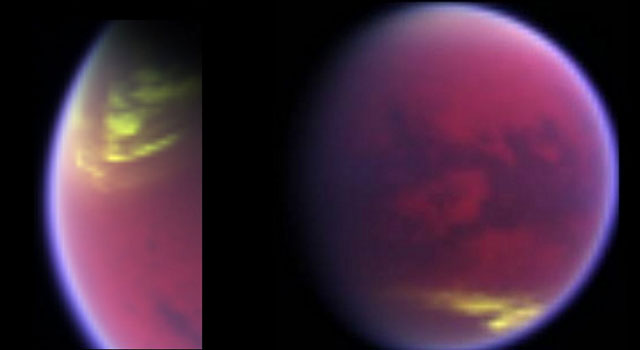 False-color image of cloud cover dissolving over Titan's north pole and clouds appearing in the southern mid latitudes.
