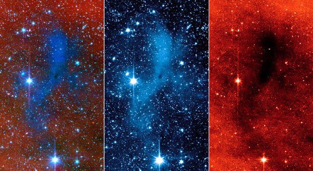 This series of images from NASA's Spitzer Space Telescope shows a dark mass of gas and dust, called a core, where new stars and planets will likely spring up.