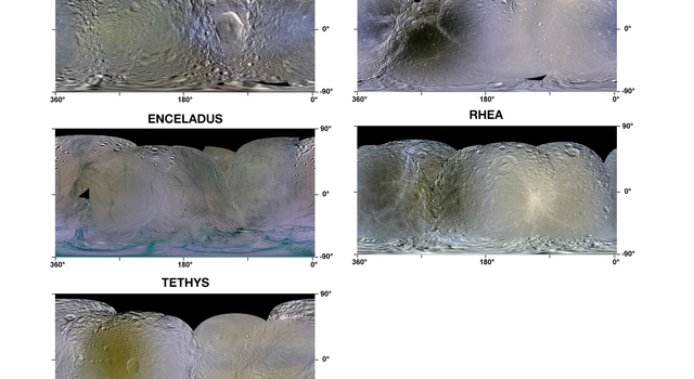 Enhanced-Color Maps of Saturn Inner Moons