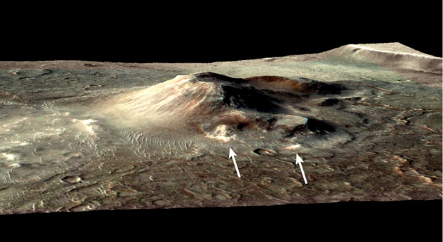 Volcanic cone in the Nili Patera caldera on Mars