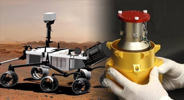 Composite of artist's concept of the Curiosity Rover and a photo of its Radiation Assessment Detector instrument