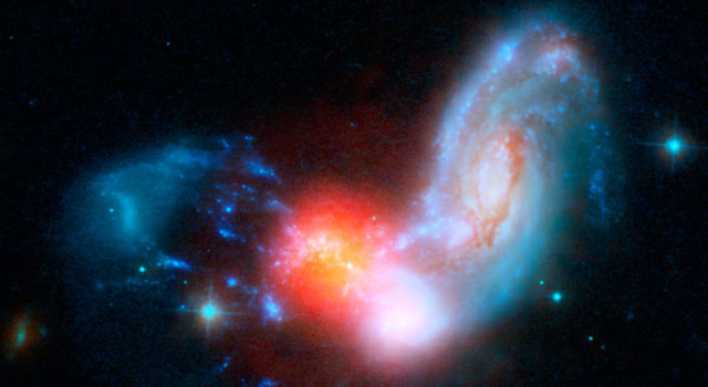 The collision of two spiral galaxies, has triggered this luminous starburst, the brightest ever seen taking place far away from the centers, or nuclei, of merging galaxies.