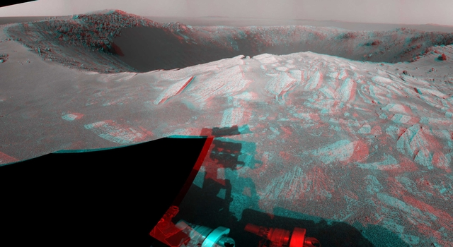 'Santa Maria' Crater in 360-Degree View, Sol 2451 (Stereo)