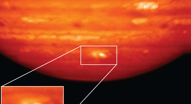 This infrared image, showing thermal radiation at a wavelength of 9.7 microns.