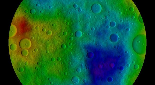 This image shows the scientists' best guess to date of what the surface of the protoplanet Vesta might look like from the south pole