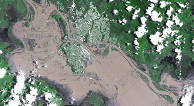 The ASTER instrument on NASA's Terra spacecraft captured this image of extensive flooding in Rockhampton, Queensland, Australia, on Jan. 7, 2010