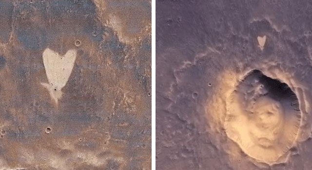 A heart-shaped feature in the Arabia Terra region of Mars.