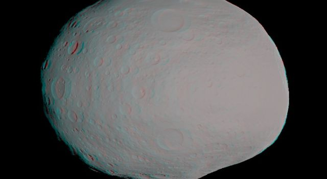 This anaglyph -- best viewed through red-blue glasses -- shows a 3-D model of the protoplanet Vesta.