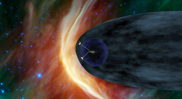 This artist's concept shows NASA's two Voyager spacecraft exploring a turbulent region of space known as the heliosheath.