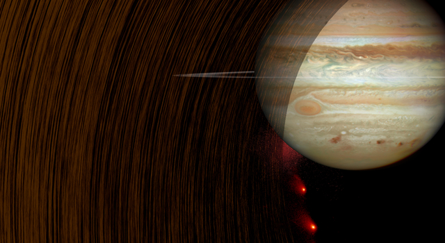 This artist's concept shows comet Shoemaker-Levy 9 heading into Jupiter in July 1994