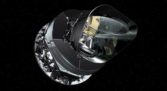An artist's concept of the Planck spacecraft. Image credit: NASA/JPL-Caltech