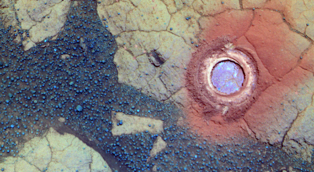 Area investigated on a rock on Mars by Opportunity