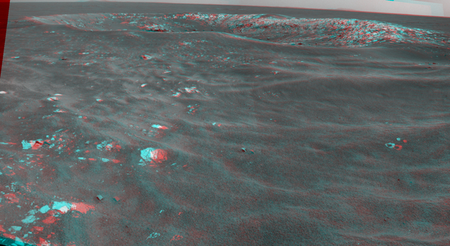 Martian 'Freedom 7' Crater 50 Years After Freedom 7 Flight (Stereo)