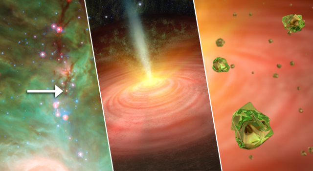 NASA's Spitzer Space Telescope detected tiny green crystals