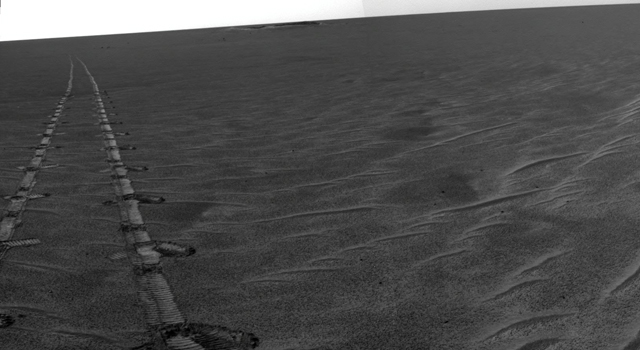 Wheel tracks on Mars from NASA's Mars Exploration Rover Opportunity