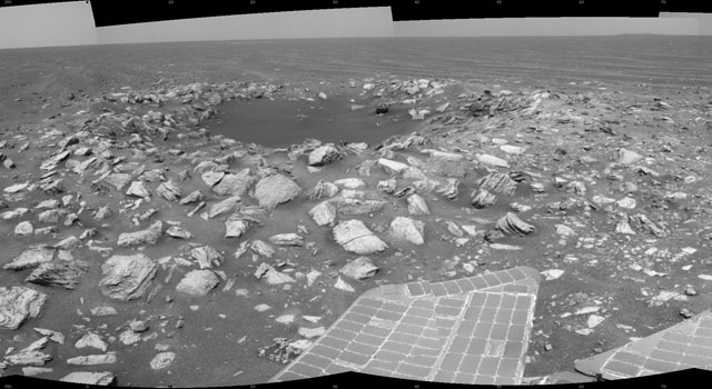 Opportunity Beside a Small, Young Crater