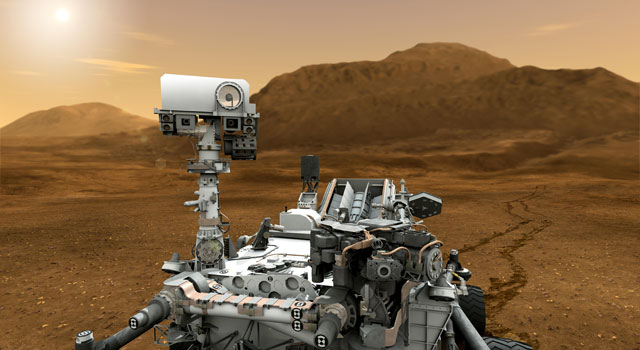 This artist concept features NASA's Mars Science Laboratory Curiosity rover