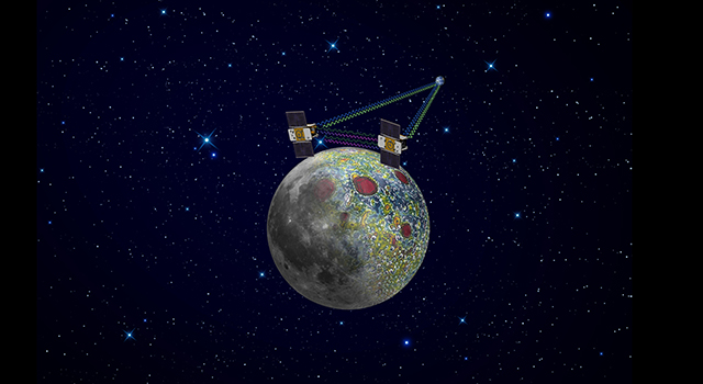 the twin GRAIL spacecraft will map the moon's gravity field, as depicted in this artist's rendering.