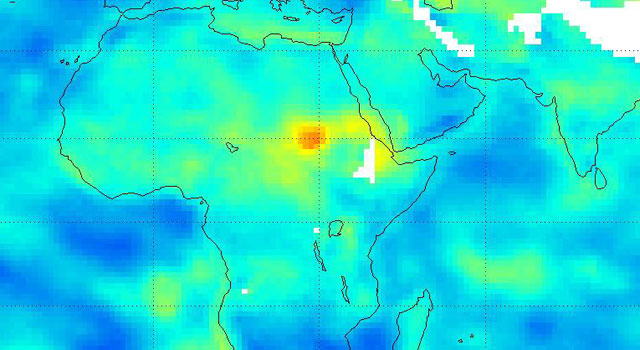 Extreme dry conditions in North Africa as illustrated in an AIRS data map