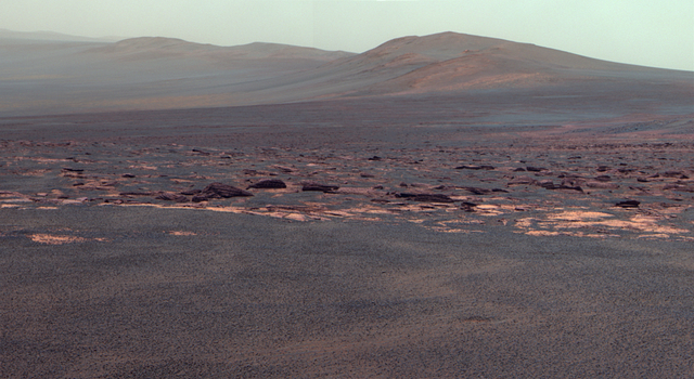 West Rim of Endeavour Crater on Mars (False Color)