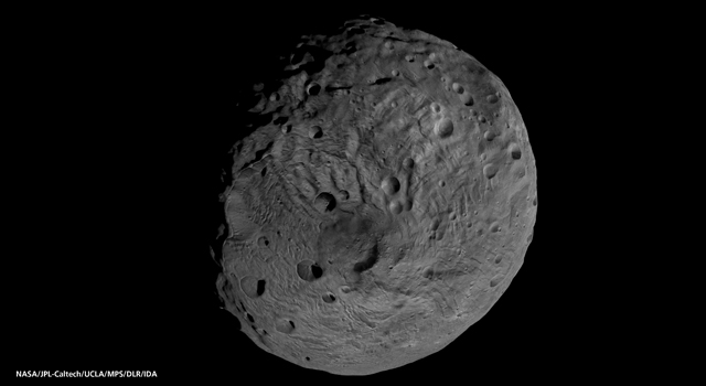 The south pole of the giant asteroid Vesta