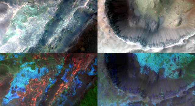 Clay Minerals in Craters and Escarpments on Mars