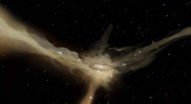In this artist's conception, a galaxy accretes mass from rapid, narrow streams of cold gas.