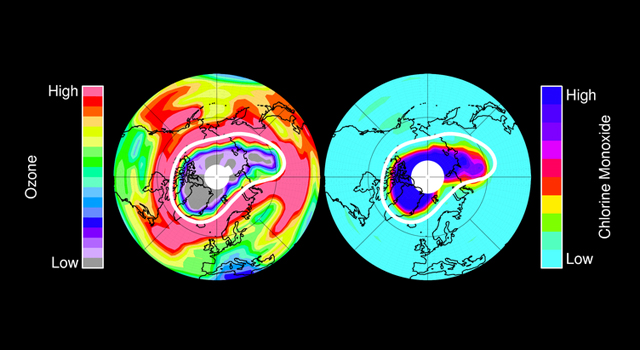 North polar region views showing levels of ozone and chlorine monoxide