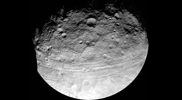 This full view of the giant asteroid Vesta was taken by NASA's Dawn spacecraft