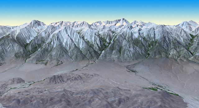 3-D perspective view of California's Mt. Whitney