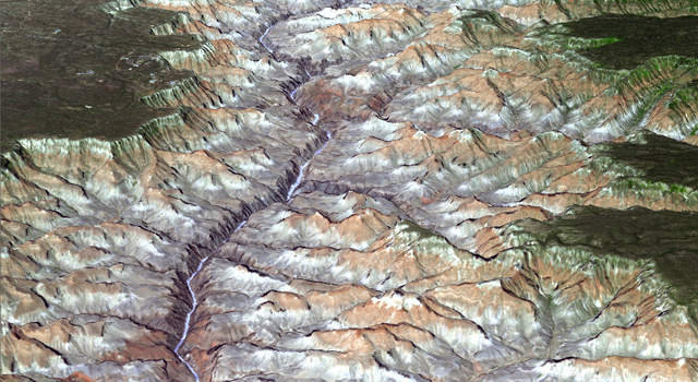 3-D view of the eastern part of Grand Canyon National Park in northern Arizona