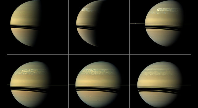 This series of images from NASA's Cassini spacecraft shows the development of a huge storm