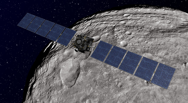 This artist's concept shows NASA's Dawn spacecraft orbiting the giant asteroid Vesta.