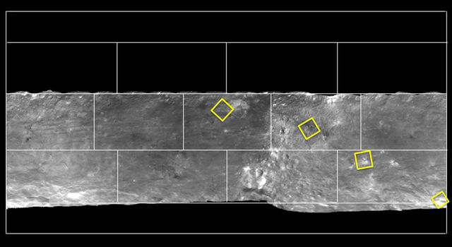 Map of Bright Areas on Vesta