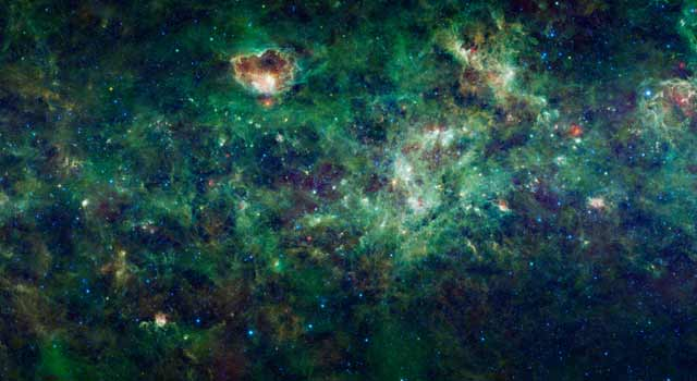 This enormous section of the Milky Way galaxy is a mosaic of images from NASA's Wide-field Infrared Survey Explorer, or WISE.