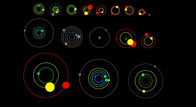 This artist's concept shows an overhead view of the orbital position of the planets in systems with multiple transiting planets discovered by NASA's Kepler mission.