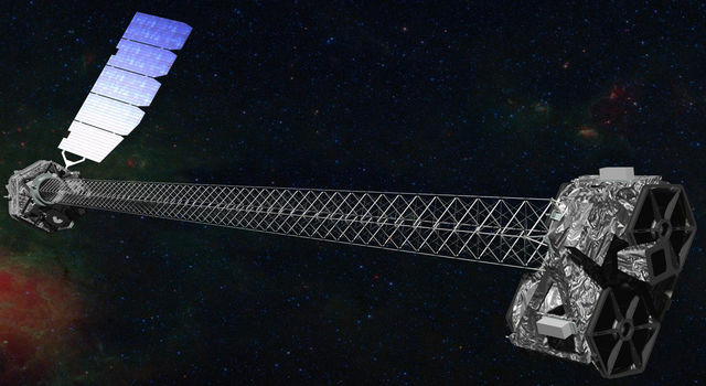 This artist's concept shows NASA's Nuclear Spectroscopic Telescope Array (NuSTAR) spacecraft on orbit.