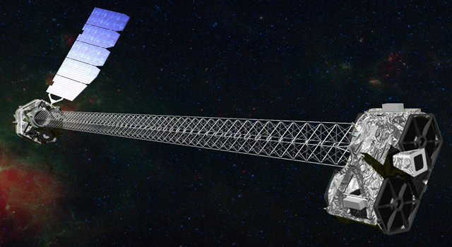 Artist's concept of NuSTAR in orbit. NuSTAR has a 33-foot (10-meter) mast that deploys after launch to separate the optics modules (right) from the detectors in the focal plane (left).