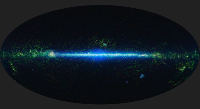 This is a mosaic of the images covering the entire sky as observed by the Wide-field Infrared Survey Explorer (WISE), part of its All-Sky Data Release