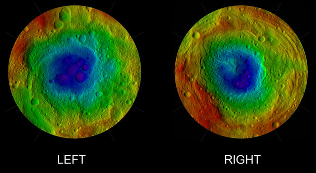 This image from NASA's Dawn mission shows the topography of the northern and southern hemispheres of the giant asteroid Vesta