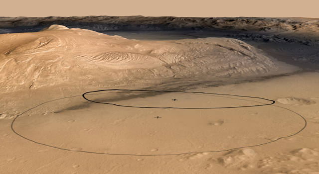 Revised Landing Target for Mars Rover Curiosity