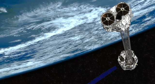 Artist's concept showing NASA's NuSTAR mission orbiting Earth.