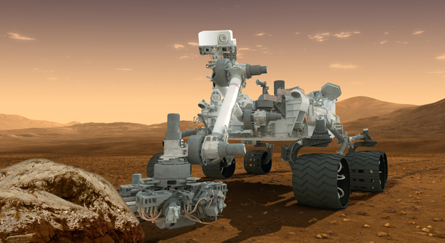This artist's concept features NASA's Mars Science Laboratory Curiosity rover