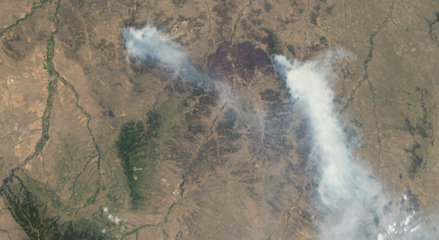 NASA's MISR Views Raging Wildfires in Southeastern Montana