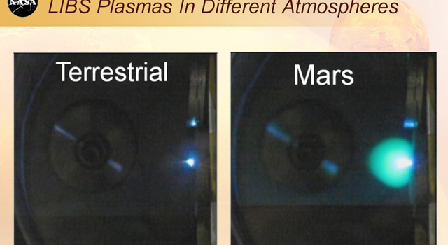 This image shows laser plasmas in a test lab at Los Alamos National Laboratory, N.M., under typical atmospheric pressures on Earth and Mars