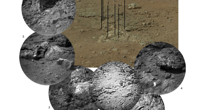 This photo mosaic shows the scour mark, dubbed Goulburn, left by the thrusters on the sky crane that helped lower NASA's Curiosity rover to the Red Planet